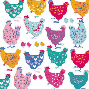 "BIRTHDAY CARD ""CHICKENS DESIGN"" LARGE SQUARE SIZE 6.25"" x 6.25"" SQBI 0008"